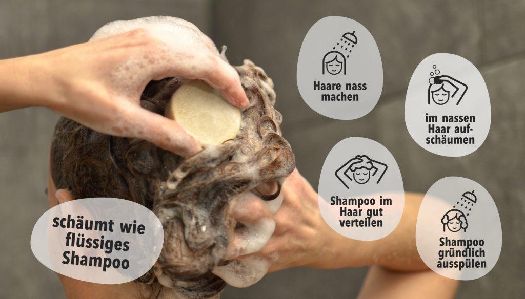 Anwendung festes Shampoo